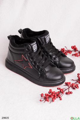 Черные ботинки со звездой