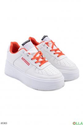 Женские бело-оранжевые кроссовки