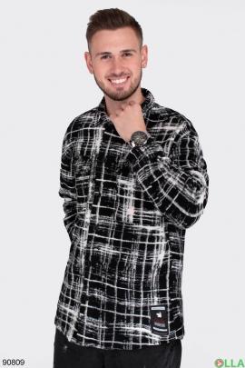 Мужская черно-белая рубашка из искусственного кашемира