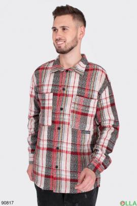 Мужская рубашка в клетку из искусственного кашемира