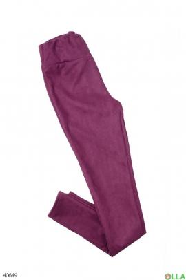 Женские фиолетовые замшевые лосины