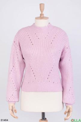 Женский зимний лиловый свитер