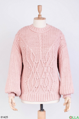 Женский зимний Розовый свитер