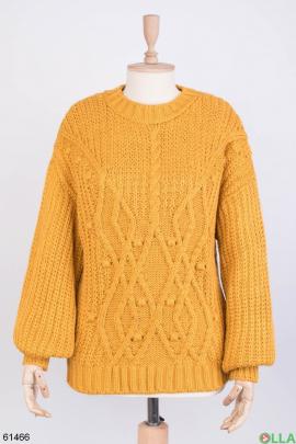Женский зимний оранжевый свитер