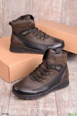 Коричневые с черным  ботинки на шнуровке