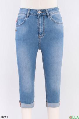 Женские синие джинсовые капри