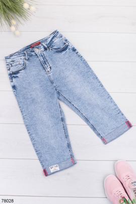 Женские голубые джинсовые капри