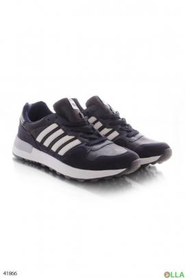 Мужские синие кроссовки с белыми полосками