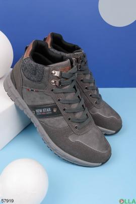 Мужские серые ботинки