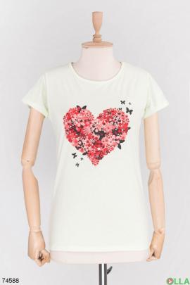 Женская бирюзовая футболка с принтом