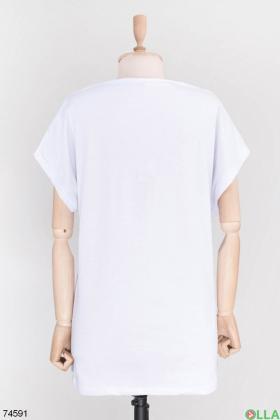 Женская белая футболка с принтом