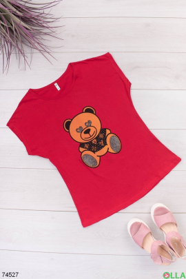 Женская красная футболка с принтом