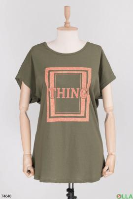 Женская футболка с принтом цвета хаки