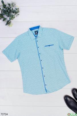 Мужская бирюзовая рубашка