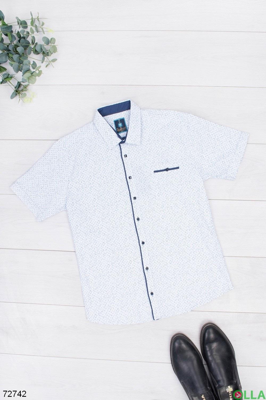 Мужская белая рубашка в принт
