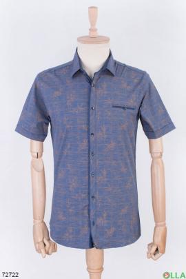 Мужская темно-синяя рубашка в принт