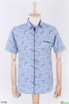 Мужская синяя рубашка в принт