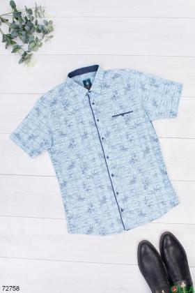 Мужская голубая рубашка в принт