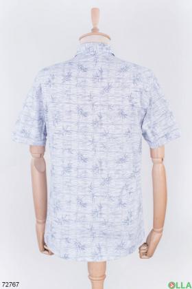 Мужская двухцветная рубашка в принт