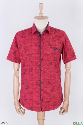 Мужская красная рубашка в принт
