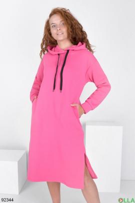 Женское розовое платье-худи на флисе