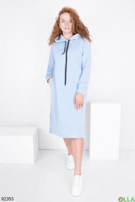 Женское голубое платье-худи на флисе