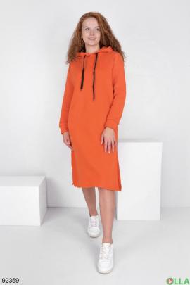 Женское оранжевое платье-худи на флисе