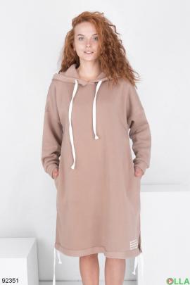 Женское бежевое платье-худи на флисе