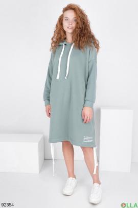Женское бирюзовое платье-худи на флисе