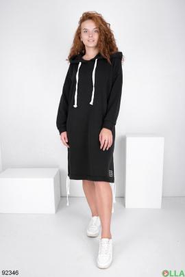 Женское черное платье-худи на флисе