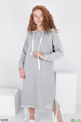 Женское серое платье-худи на флисе