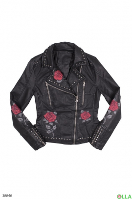 Куртка-косуха с заклепками и розами