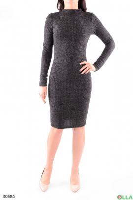 Женское серое платье с длинным рукавом
