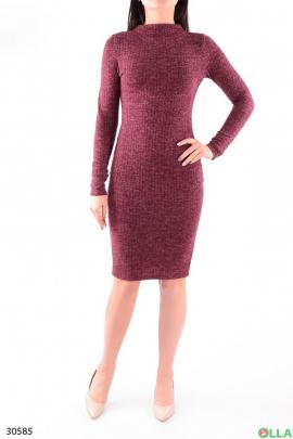 Женское бордовое платье с длинным рукавом