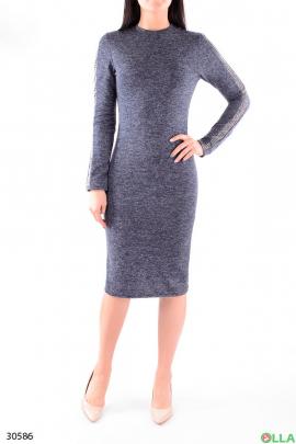 Женское платье с люрексом и блестящими вставками