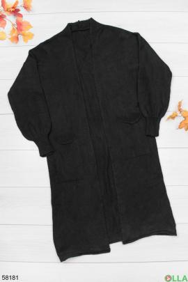 Женский черный кардиган с карманами