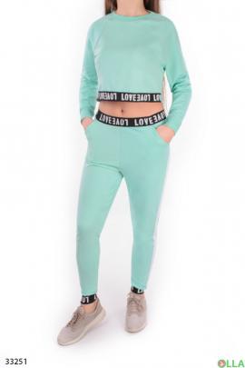 Женский бирюзовый спортивный костюм