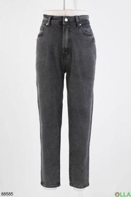 Женские темно-серые джинсы в классическом стиле