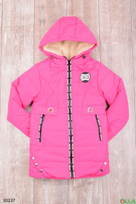 Утепленная куртка с капюшоном розового цвета