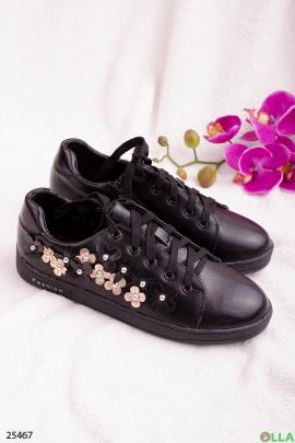 Черные кеды с цветами