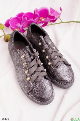 Кеды на шнуровке, цвета металлик