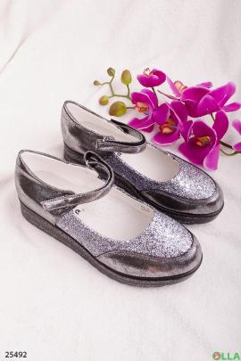 Туфли с блестками на липучке