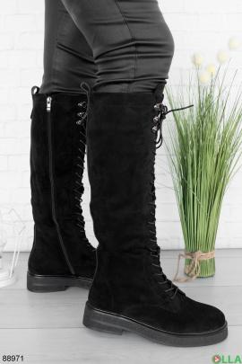 Женские черные сапоги на шнуровке