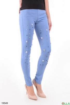 Голубые джинсы с бусинами