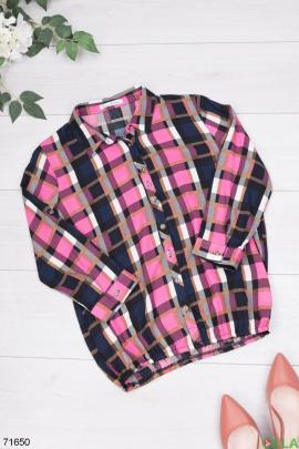 Женская разноцветная рубашка в клетку