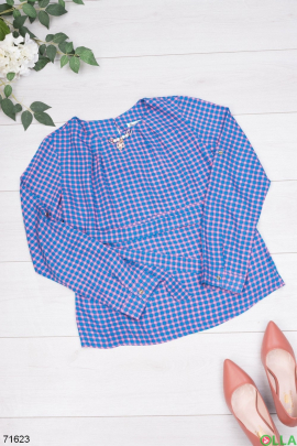 Женская двухцветная блузка в клетку