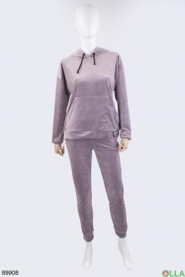 Женский сиреневый спортивный костюм из велюра