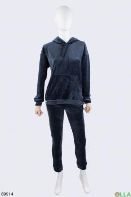 Женский темно-синий спортивный костюм из велюра