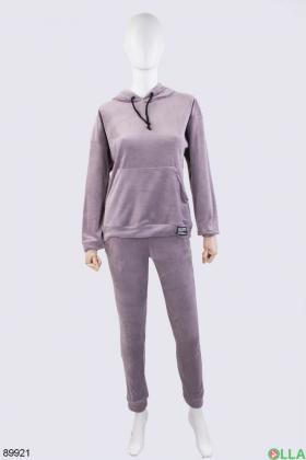 Женский светло-сиреневый спортивный костюм из велюра