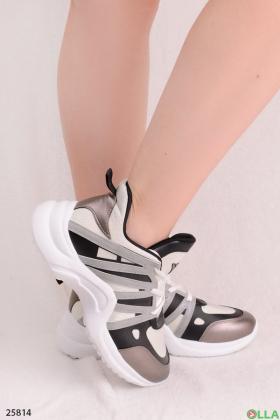 Женские кроссовки с люрексом